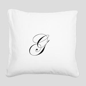 Edwardian Script-G Square Canvas Pillow