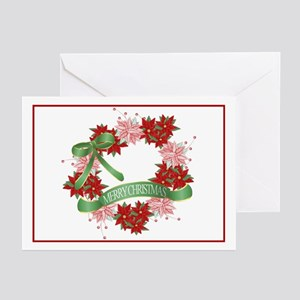 Pointsetta Wreath Greeting Cards (Pk of 10)