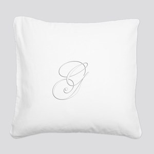 Edwardian Script-G White Square Canvas Pillow