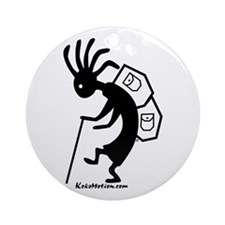Kokopelli Backpacker Ornament (Round)