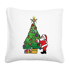 Santa and our star Square Canvas Pillow