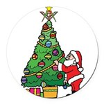 Santa and our star Round Car Magnet