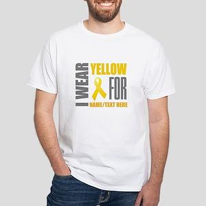 Yellow Awareness Ribbon Customized White T-Shirt