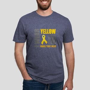 Yellow Awareness Ribbon Cus Mens Tri-blend T-Shirt