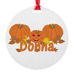 Halloween Pumpkin Donna Round Ornament