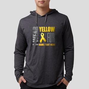 Yellow Awareness Ribbon Customiz Mens Hooded Shirt