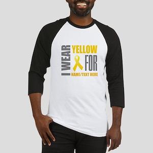Yellow Awareness Ribbon Customized Baseball Tee