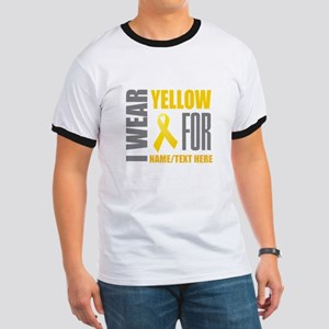 Yellow Awareness Ribbon Customized Ringer T