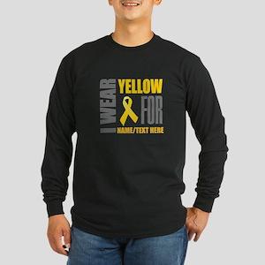 Yellow Awareness Ribbon C Long Sleeve Dark T-Shirt