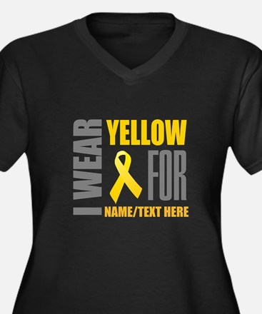 Yellow Aware Women's Plus Size V-Neck Dark T-Shirt