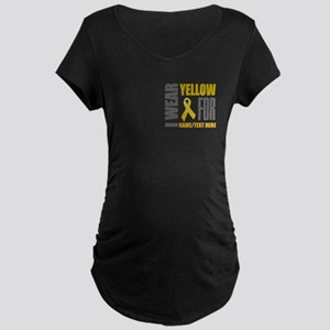 Yellow Awareness Ribbon Cus Maternity Dark T-Shirt