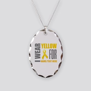 Yellow Awareness Ribbon Custom Necklace Oval Charm