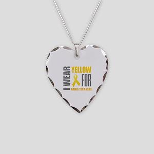 Yellow Awareness Ribbon Custo Necklace Heart Charm