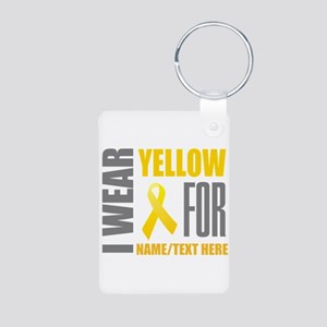Yellow Awareness Ribbon Cu Aluminum Photo Keychain