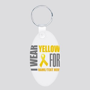 Yellow Awareness Ribbon Cus Aluminum Oval Keychain