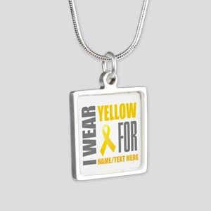 Yellow Awareness Ribbon Cu Silver Square Necklace