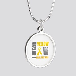Yellow Awareness Ribbon Cust Silver Round Necklace