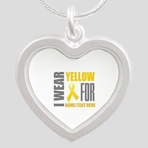 Yellow Awareness Ribbon Cust Silver Heart Necklace
