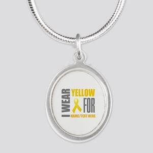 Yellow Awareness Ribbon Custo Silver Oval Necklace