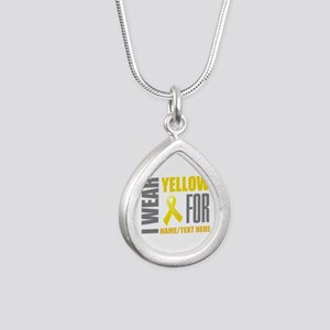 Yellow Awareness Ribbon Silver Teardrop Necklace