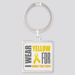 Yellow Awareness Ribbon Customized Square Keychain