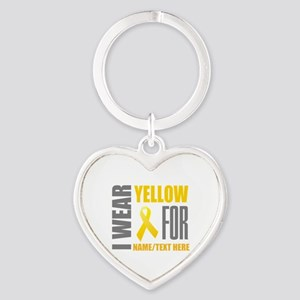 Yellow Awareness Ribbon Customized Heart Keychain
