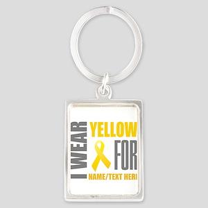 Yellow Awareness Ribbon Customiz Portrait Keychain