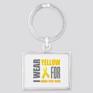 Yellow Awareness Ribbon Customi Landscape Keychain