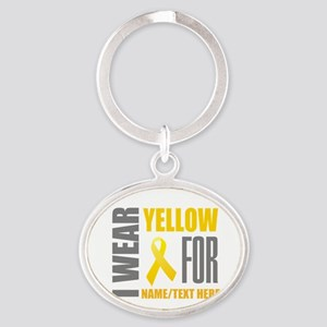 Yellow Awareness Ribbon Customized Oval Keychain