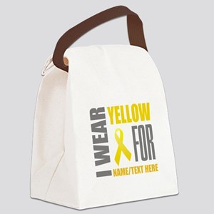 Yellow Awareness Ribbon Customize Canvas Lunch Bag