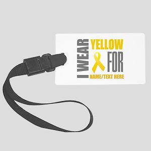 Yellow Awareness Ribbon Customiz Large Luggage Tag