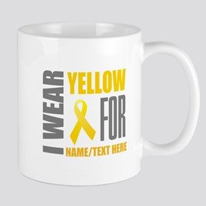 Yellow Awareness Ribbon Customiz 11 oz Ceramic Mug