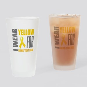 Yellow Awareness Ribbon Customized Drinking Glass