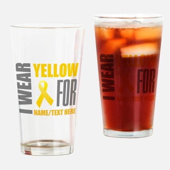 Yellow Awareness Ribbon Customized Drinking Glass