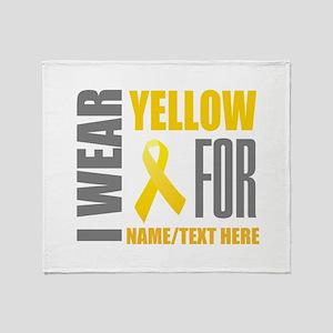 Yellow Awareness Ribbon Customized Throw Blanket