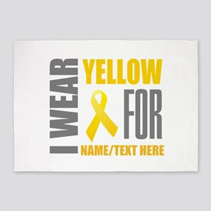 Yellow Awareness Ribbon Customized 5'x7'Area Rug