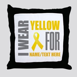 Yellow Awareness Ribbon Customized Throw Pillow