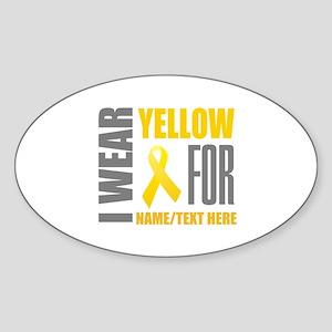 Yellow Awareness Ribbon Customized Sticker (Oval)
