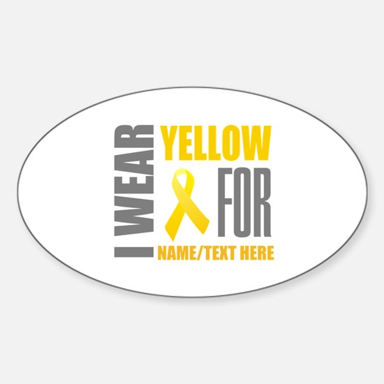Yellow Awareness Ribbon Customized Sticker (Oval)