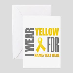 Yellow Awareness Ribbon Customized Greeting Card