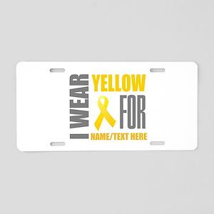 Yellow Awareness Ribbon Cus Aluminum License Plate