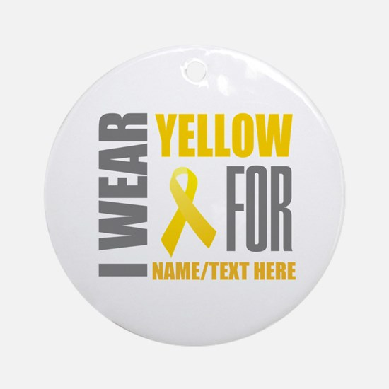 Yellow Awareness Ribbon Customized Round Ornament