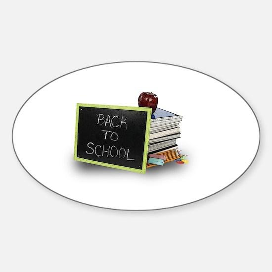 Back to school apple Sticker (Oval)