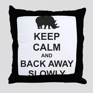 Keep Calm and Back Away Slowly Throw Pillow