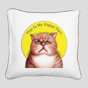 Happy Face Square Canvas Pillow