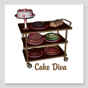 "Cake Diva Square Car Magnet 3"" x 3"""