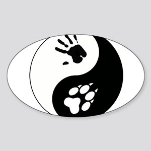 Wolf Therian Ying Yang Sticker (Oval)
