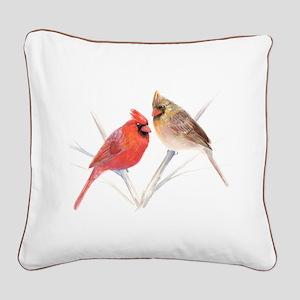 Northern Cardinal Mates Square Canvas Pillow