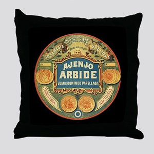 Vintage Absinthe Lable Throw Pillow