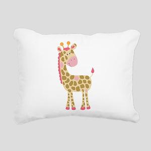 Jungle Jill Giraffe Pink Rectangular Canvas Pillow